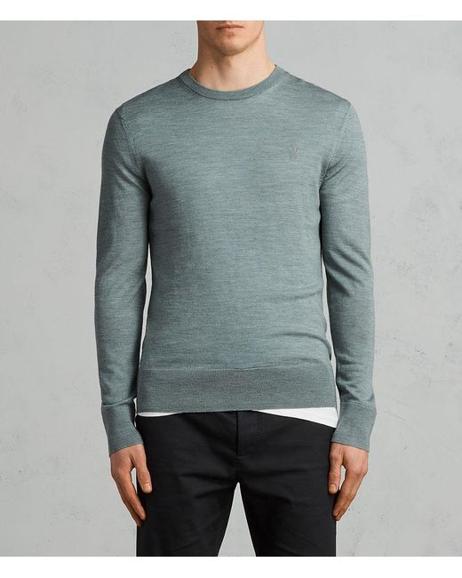 AllSaints - Green Mode Merino Crew Sweater for Men - Lyst