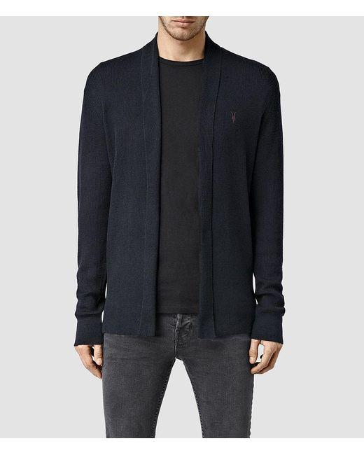 AllSaints - Blue Mode Merino Open Cardigan Usa Usa for Men - Lyst