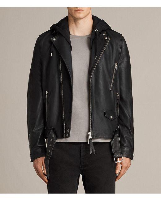 AllSaints   Black Stens Leather Biker Jacket for Men   Lyst