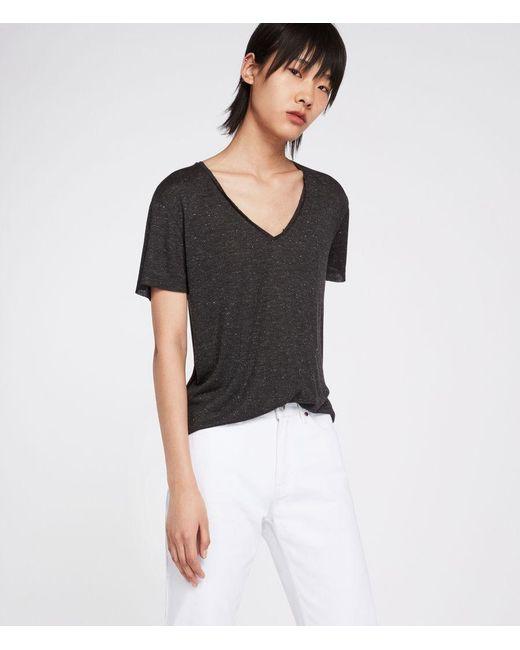 AllSaints - Black Emelyn Shimmer T-shirt - Lyst