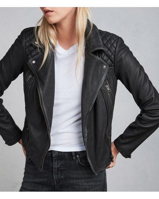 AllSaints - Black Cargo Leather Biker Jacket - Lyst