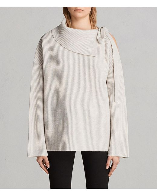 AllSaints - Multicolor Sura Tie Neck Sweater - Lyst