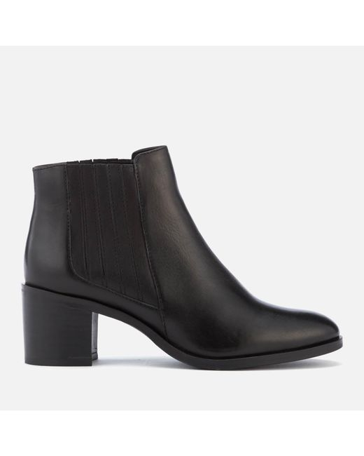 Dune - Black Women's Peter Leather Heeled Ankle Boots - Lyst