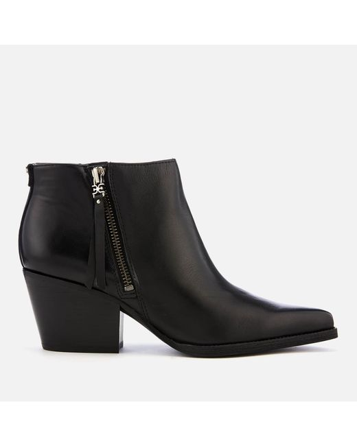 Sam Edelman - Black Walden Modena Leather Heeled Ankle Boots - Lyst