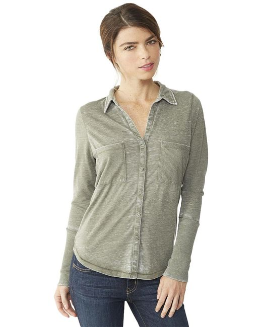 Alternative Apparel | Green Everyday Burnout Button Up Shirt | Lyst