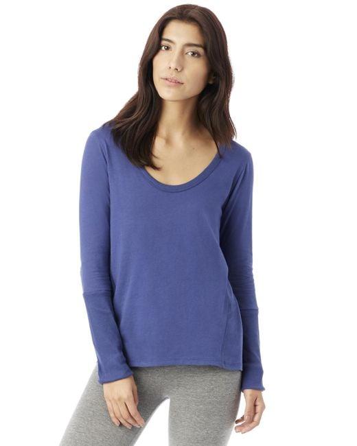 Alternative Apparel | Blue Rib Sleeve Satin Jersey T-shirt | Lyst