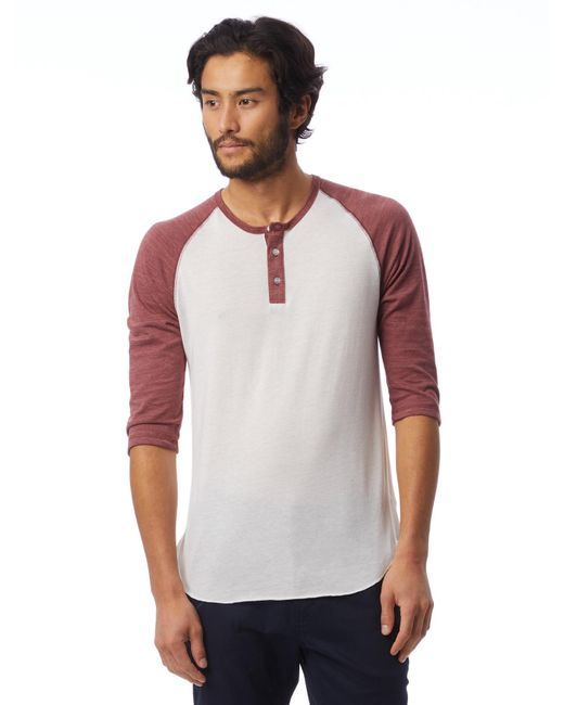 Alternative Apparel - White Basic Eco-jersey Raglan Henley Shirt for Men - Lyst