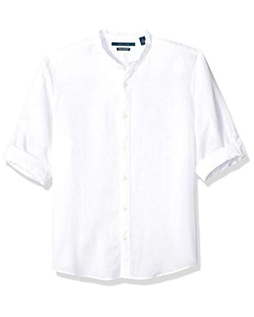 Perry Ellis White Solid Linen Cotton Rolled Sleeve Banded Collar Shirt for men