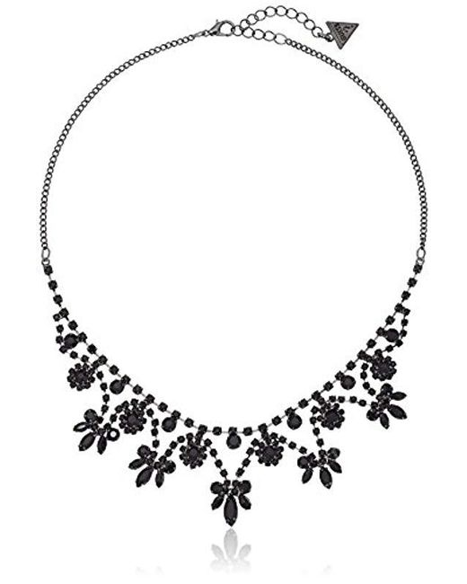 """Guess - Black """"basic Jet Dainty Floral Necklace, 16"""" + 2"""" Extender - Lyst"""