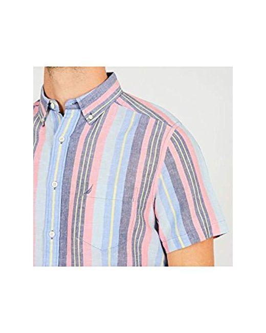 60703c4e40 ... Nautica - Blue Short Sleeve Classic Fit Striped Linen Button Down Shirt  for Men - Lyst