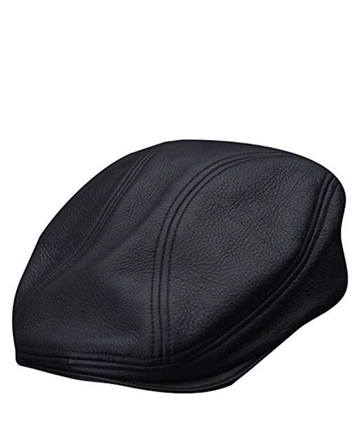 Stetson - Black Oily Timber Leather Ivy Cap for Men - Lyst
