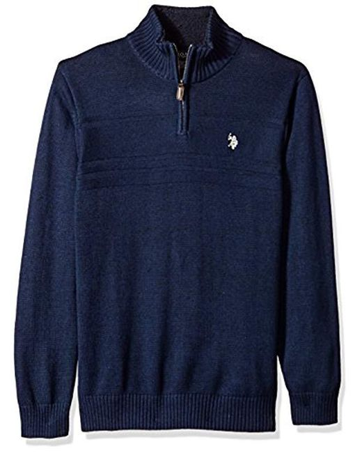 U.S. POLO ASSN. - Blue Solid Texture Chest Stripe 1/4 Sweater for Men - Lyst