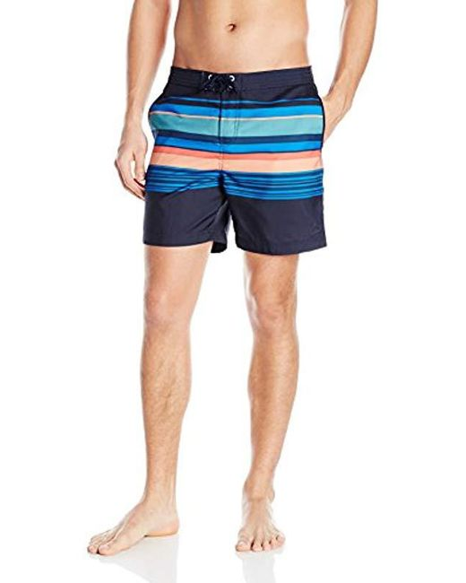 Original Penguin - Blue Bold Engineered Stripe Fixed Volley Swim Trunk for Men - Lyst