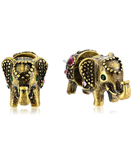 """Betsey Johnson - Multicolor """"bj's Agerie"""" Elephant Front And Back Stud Earrings - Lyst"""