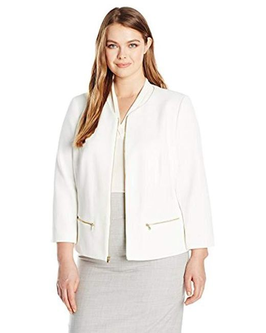 Nine West - White Plus Size Textured Knit Jewel Neck Zip Front Jacket - Lyst