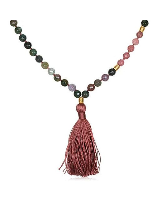 Satya Jewelry - Fancy Jasper Gold Moon Mala Tassel Necklace 40-inch, Pink, One Size - Lyst