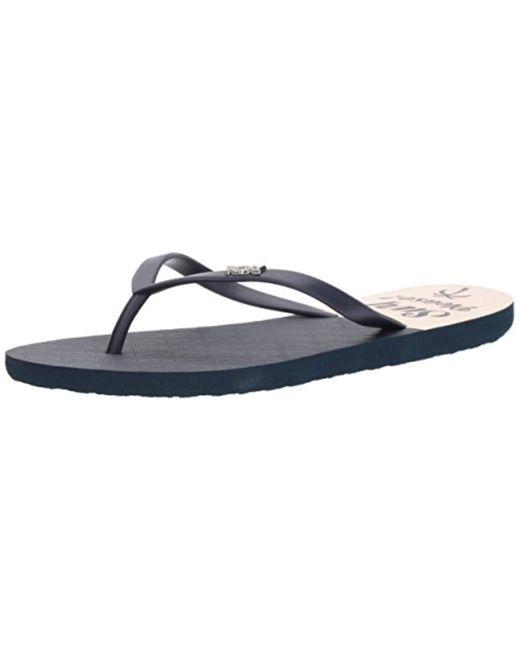 Roxy - Blue Viva Stamp Flip Flop Sandal - Lyst