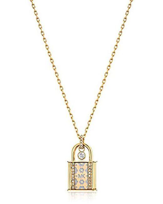 Michael Kors - Metallic S Heritage In Full Bloom Pave Lock Pendant Necklace - Lyst