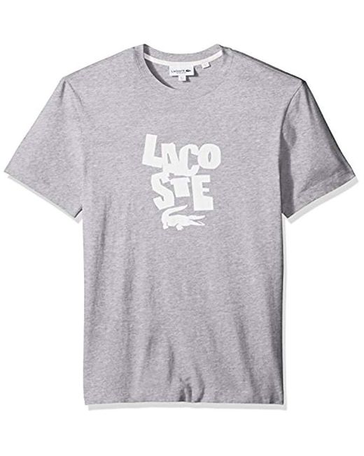 Lacoste - Gray Short Sleeve Graphic Jersey Print Reg Fit T-shirt, Th3263 for Men - Lyst