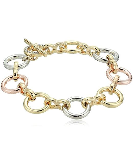 Kenneth Cole - Metallic Kenneth Cole New Trinity Rings Tri-tone Link Bracelet - Lyst