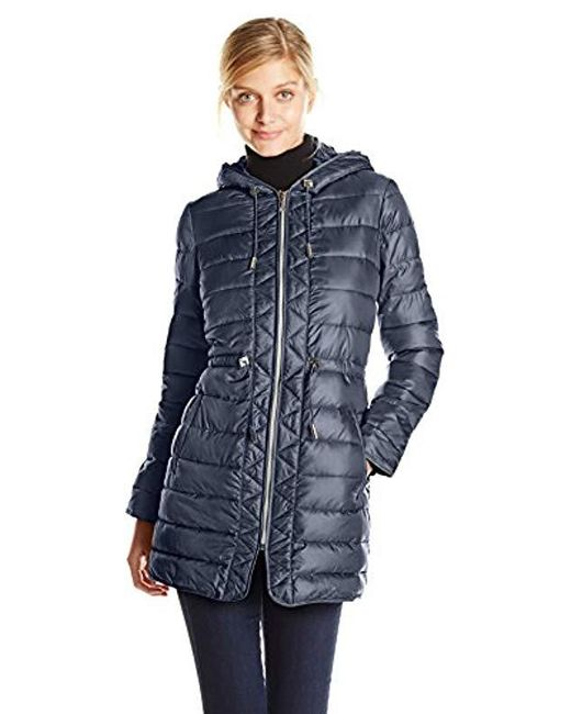 Kenneth Cole - Blue Packable Puffer Coat With Cinch Waist - Lyst