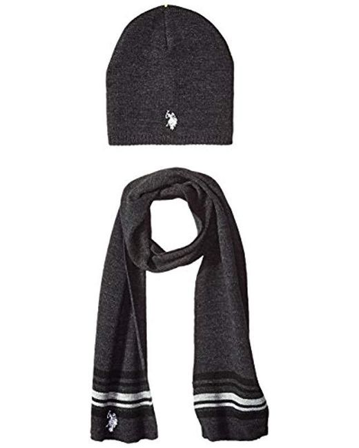 U.S. POLO ASSN. - Black Mini Winter Beanie And Scarf Set for Men - Lyst ... d80b7e57c79