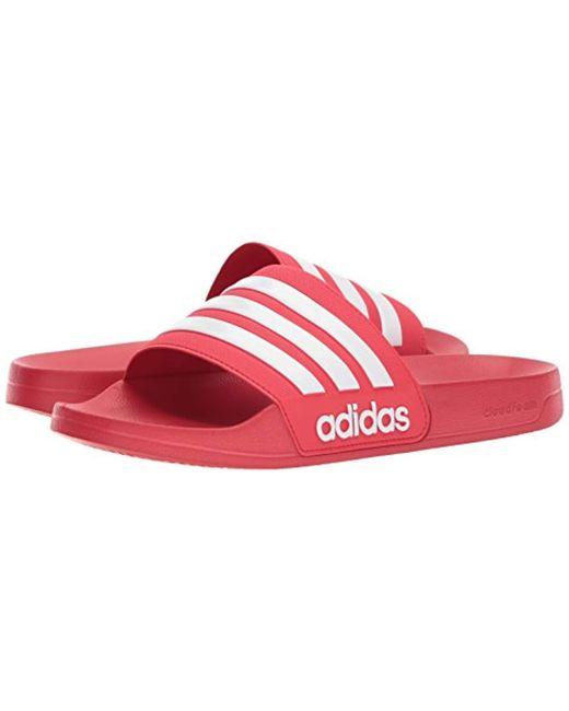 481304e0dc8d70 ... Adidas Originals - Red Adilette Shower Slide Sandal for Men - Lyst ...