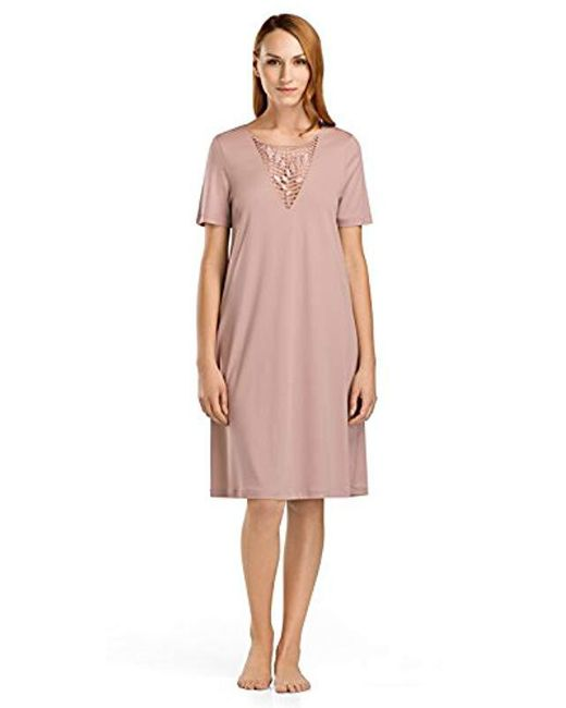 ebe27ba668 Lyst - Hanro Violetta Short Sleeve Gown in Pink - Save ...