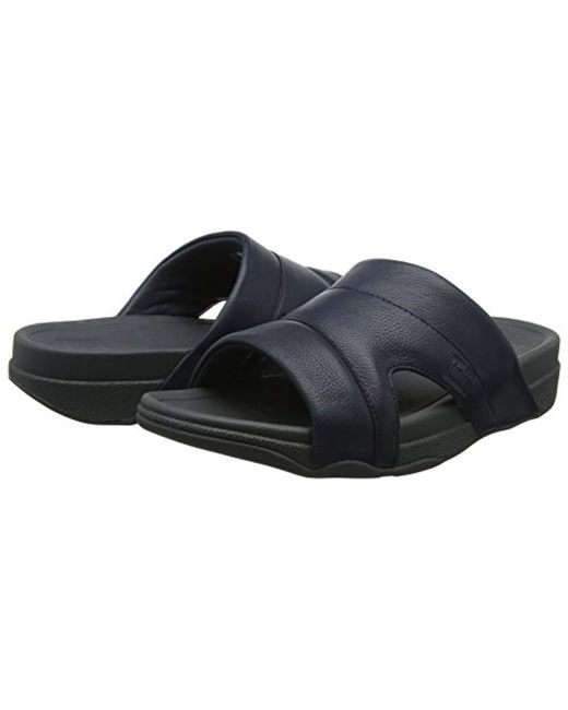 cf3eb4a4aab ... Fitflop - Black Freeway Pool Slide In Leather Sandal for Men - Lyst ...