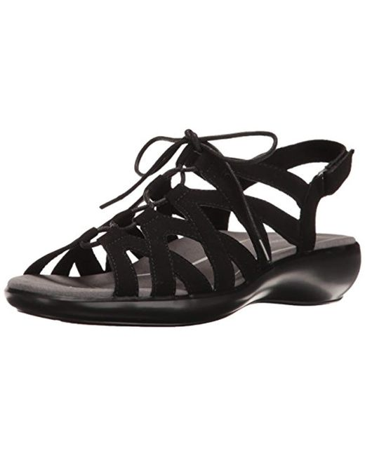 Lyst Rockport Rozelle Ghille Wedge Sandal In Black