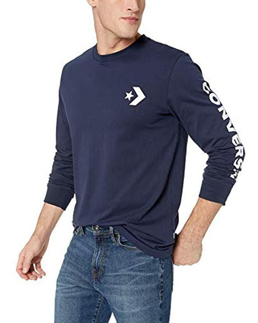 471137c98bd2 Converse - Blue Star Chevron Wordmark Long Sleeve Tee for Men - Lyst ...