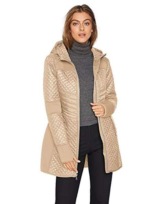 75ed5cb10d4 London Fog - Natural Zip Front Thigh Length Quilt And Knit Coat With Hood -  Lyst ...