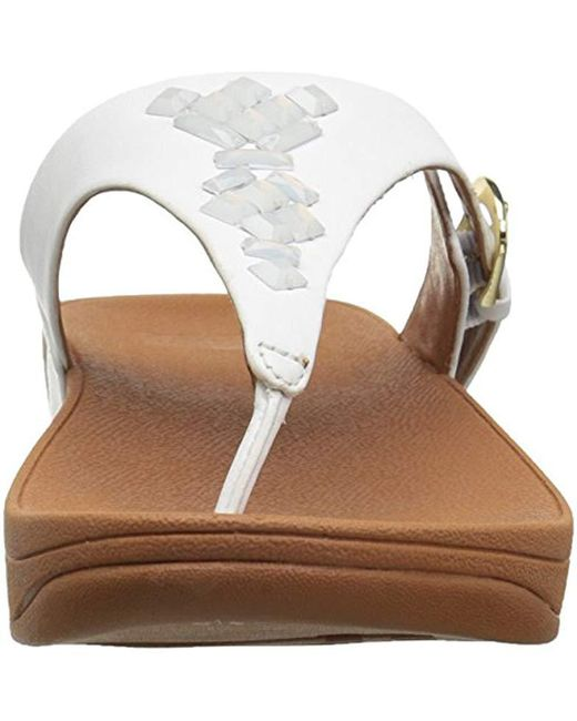 2622c2bf4257b ... Fitflop - White The Skinny Toe-thong Sandals-crystal - Lyst ...