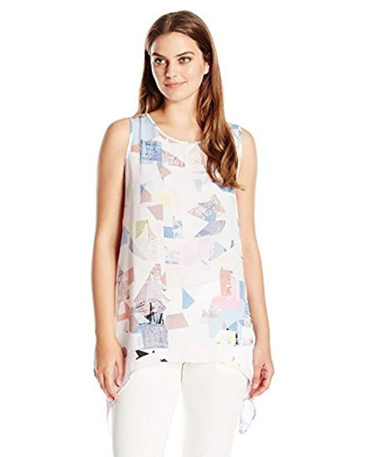 Vince Camuto - White S/l Shattered Mirage Shark Bite Blouse - Lyst