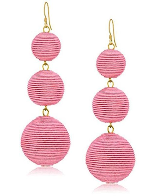 Kenneth Jay Lane - Pink Thread Wrapped Ball Drop Earrings - Lyst