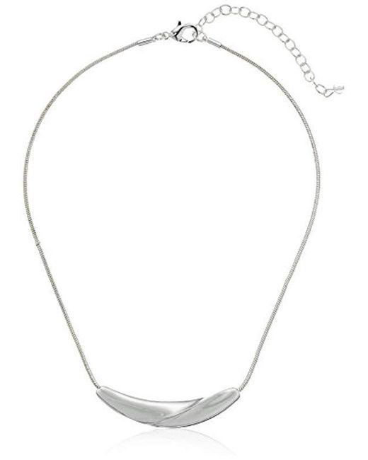 Napier - Metallic S Small Frontal Necklace, Silver-tone - Lyst