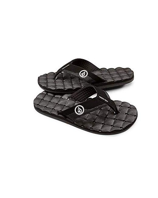 Volcom - Black Recliner Flip Flop Sandal for Men - Lyst