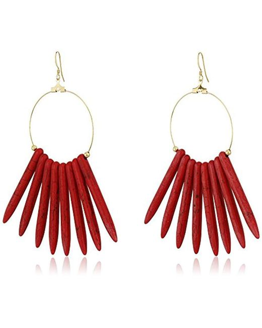 Kenneth Jay Lane - Multicolor Gold Hoop With Coral Sticks Fishhook Drop Earrings - Lyst