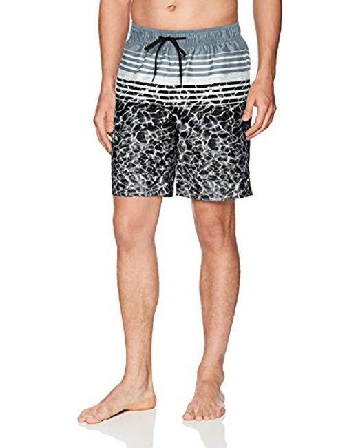 Calvin Klein Black Water Stripe Printed Swim Trunk for men