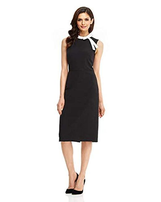 Maggy London - Blue Crepe Sheath With Neck Tie - Lyst