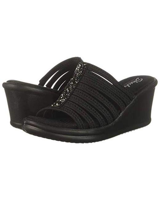 81a7bd32a53 Skechers - Black Rumblers Galore-rock Glitter Multi-strap Slide Wedge  Sandal - Lyst