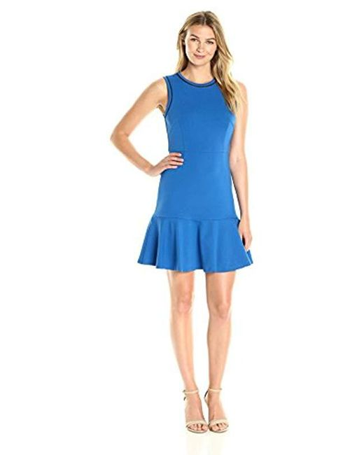 571f7a9ec61 Lark   Ro - Blue Sleeveless Fit And Flare Dress With Pieced Bodice - Lyst  ...