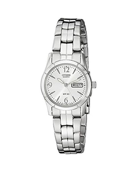 Citizen - Metallic Quartz Silver-tone Watch With Day/date Display, Eq0540-57a - Lyst
