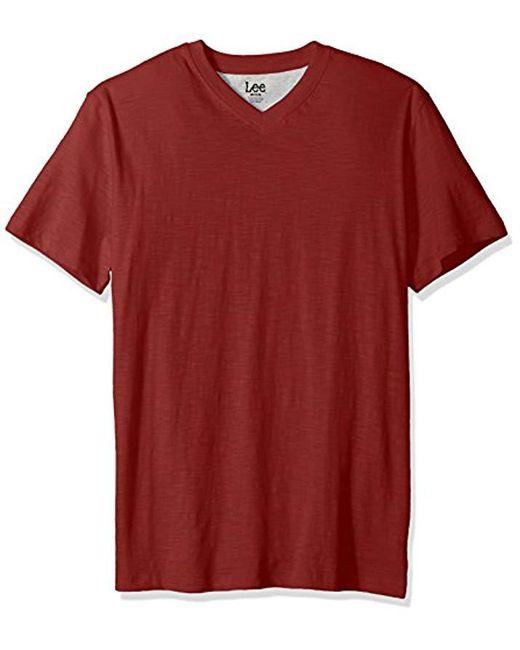 Lee Jeans - Red Short Sve Vneck Tee for Men - Lyst