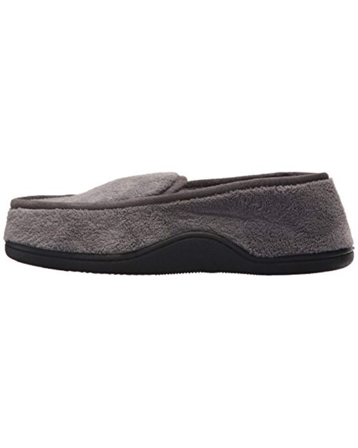 fa8fb0d0d27 ... Isotoner - Gray Terry Moccasin Slipper With Memory Foam For Indoor outdoor  Comfort And Arch ...
