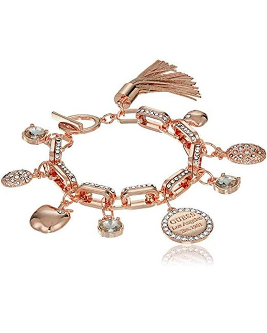 Guess - Metallic S Logo Charm Bracelet With Toggle Close - Lyst