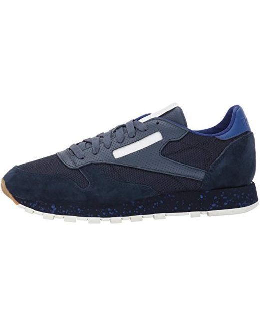 7db8f374c90 Lyst - Reebok Cl Leather Sm Fashion Sneaker in Blue for Men - Save 1%