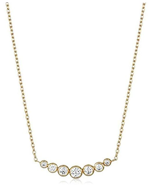 f12419532d012 Lyst - Michael Kors Park Avenue Inset Pendant Necklace in Metallic ...