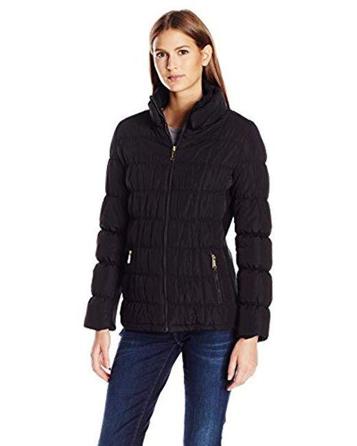 Calvin Klein - Black Rib Collar Puffer Jacket - Lyst