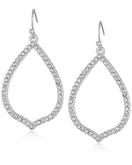 T Tahari - Metallic Essentials Pave Teardrop Hoop On Fish Wire Drop Earrings, Silver, One Size - Lyst